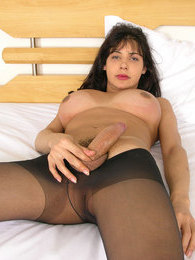 Spicy shemale licking her perky tits before creaming her control top tights pictures at find-best-lingerie.com
