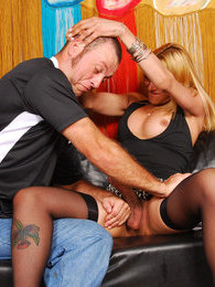 Seductive shemale inblack stockings hooking muscle guy on her mighty cock pictures