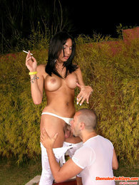 Smoking shemale waiting for eager guy to drill his ass after great blowjob pictures at kilosex.com