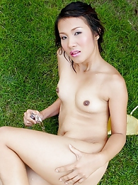 Hiroko Rumi sprayed by a hose all over her face pictures