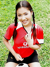 Soccer girl Arisa Sunaree strips out of her uniform on the field pictures at find-best-panties.com