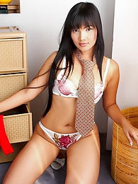 Long haired Asian sensation Betsy Rue pictures at lingerie-mania.com