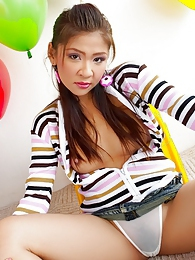 Cha Cha strips out of her tight striped sweater pictures