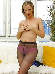 Non nude Leah in tight minidress and pantyhose pictures at lingerie-mania.com