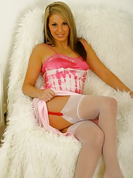 Gorgeous blonde Vanessa in white stockings pictures