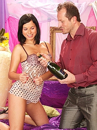 Dark haired fox Renata gets drunk and fucks pictures at lingerie-mania.com