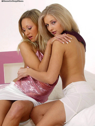Andrea and Viktoriya perfect blonde lesbians pictures at lingerie-mania.com