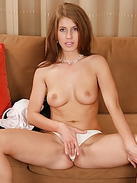 Gorgeous coed Kristine stuffs red toy deep inside her cooter pictures at freekilomovies.com
