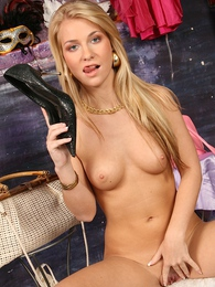 Teen babe Rhonda strips down naked in only her heels pictures at find-best-hardcore.com