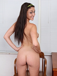 Victoria Love hops up on the table and toys her juicy pussy pictures at kilosex.com