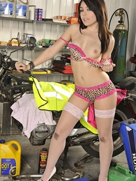 Kacie Jay tickles her clit while fixing her motorbike pictures at find-best-lingerie.com