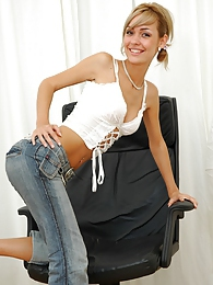 Sexy blonde slowly strips in her office pictures at dailyadult.info