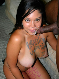 Brazilian babe blows black dick pictures at kilosex.com