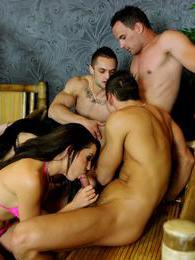 Lustful girls getting fucked by hot bisexual guys in group pictures