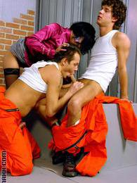 Sexy ladies sharing dicks with bisexual guys in the jail pictures at kilopics.com