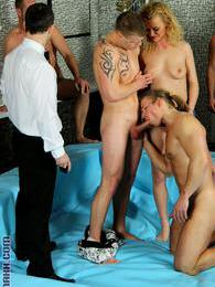 Naughty & sexy blonde cutie gets nailed by a group bi guys pictures
