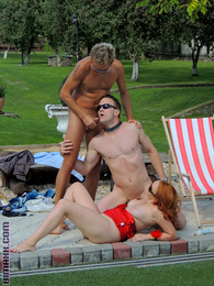 Naked bisexual hotties enjoy fucking each other at the pool pictures