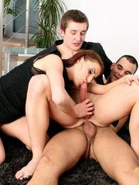 Two guys and a girl joining in a horny hardcore threesome pictures