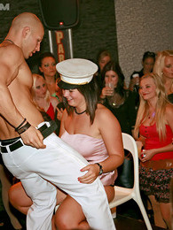 Chicks fucking and sucking a real horny sailor at a club pictures at lingerie-mania.com