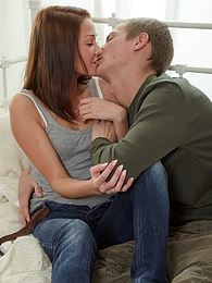 Sexual teen Elena fucking her handsome nerdy roommate hard pictures at freekilosex.com