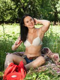 Viki loves nature and touching herself while she is outside pictures at adspics.com