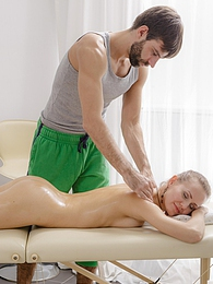 Nika gets a naked oil massage but his fingers slip inside pictures