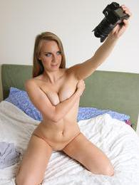 She finds a camcorder and starts taping herself masturbating pictures