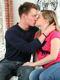 Cute teen Sherry and her boyfriend making love on valentines pictures at find-best-lingerie.com