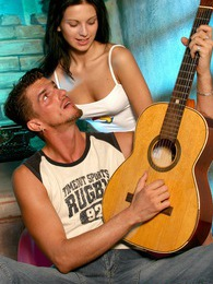 A sexy teenage brunette cutie fucking the hot guitar man pics