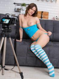 Lustful teen babe Sofy fucking her toy for her first sextape pictures at freekiloclips.com
