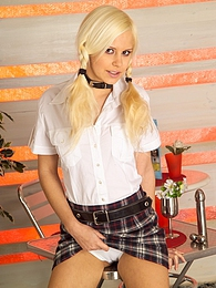 Pigtailed blonde teen angel toying her delicious bald pussy pictures at dailyadult.info