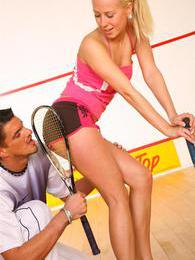 He was her tennis teacher but he gave her something else! pictures at lingerie-mania.com