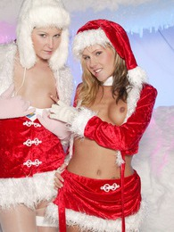 Hot babes Amber and Tiffany hot Christmas toying fun times pictures at find-best-pussy.com