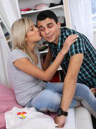 A young teen couple having fun exploring each other in bed pictures at lingerie-mania.com
