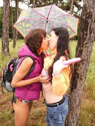 Brunette lesbian teens toying their tiny pussies in woods pictures at kilopics.com