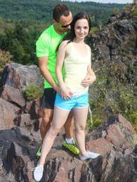 Couple of youngsters fuck hard on the top of a mountain pictures at find-best-panties.com