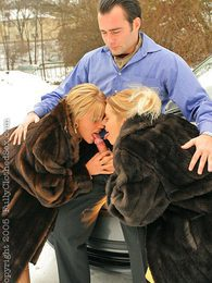 Hot blonde babes wearing fur sucking cock outside in snow pictures at adspics.com