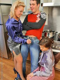 Two hot babes fucking in a hot dinnertime threesome fuckfest pictures at adspics.com