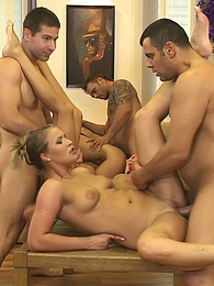 Horny beautiful young people are having a big hot orgy pictures at freekilosex.com