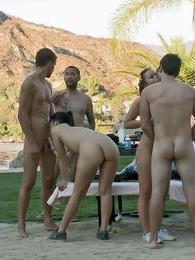 Horny chicks suck and fuck big dicks in an outdoors sex orgy pictures at adspics.com