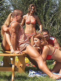 A bunch of young horny youngsters start a sexparty outside pictures at freekilopics.com