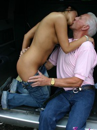 Teen babe gets senior cock to play with on the playground pictures at lingerie-mania.com