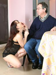 Brunette beauty seduces an old senior during her breakfast pictures at lingerie-mania.com