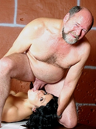 Sweet brunette beauty pleases a bearded old male senior pictures at kilogirls.com