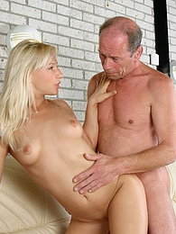 Blonde babe pleasing a senior his stiff cock with her holes pictures