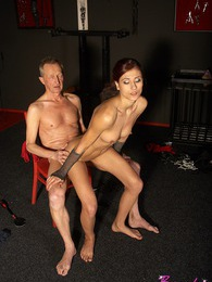 Old horny daring chap spanked by a harsh mistress indoors pictures at lingerie-mania.com