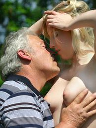 Horny blonde beauty gets fucked outdoor by an older male pictures at lingerie-mania.com