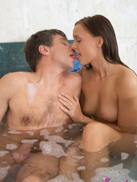 Sweet young babe shagged in the bathtub by horny senior pictures at adspics.com