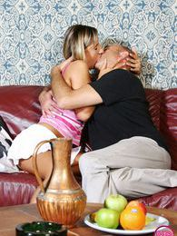 Horny senior releases his rockhard boner on a willing teen pictures at lingerie-mania.com