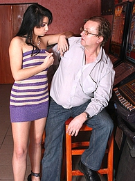 Sexy brunette teen babe pleases a senior jackpot winner pictures at freekiloclips.com